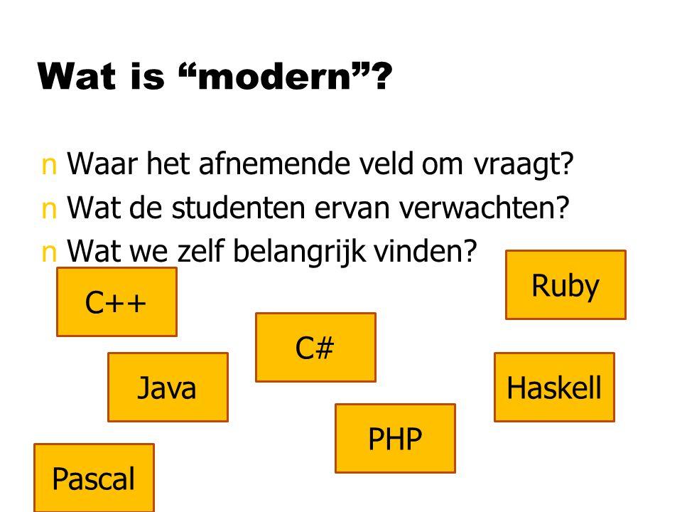 """Wat is """"modern""""? nWaar het afnemende veld om vraagt? nWat de studenten ervan verwachten? nWat we zelf belangrijk vinden? C++ Java C# PHP Ruby Haskell"""