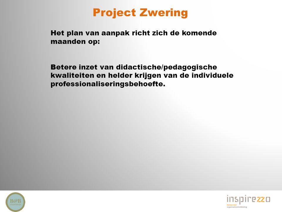 Project Zwering Het plan van aanpak richt zich de komende maanden op: Betere inzet van didactische/pedagogische kwaliteiten en helder krijgen van de i