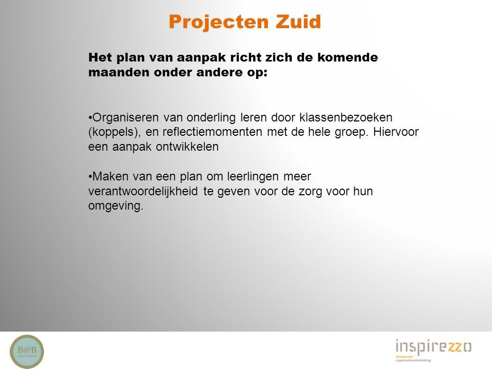 Projecten Zuid Het plan van aanpak richt zich de komende maanden onder andere op: Organiseren van onderling leren door klassenbezoeken (koppels), en r