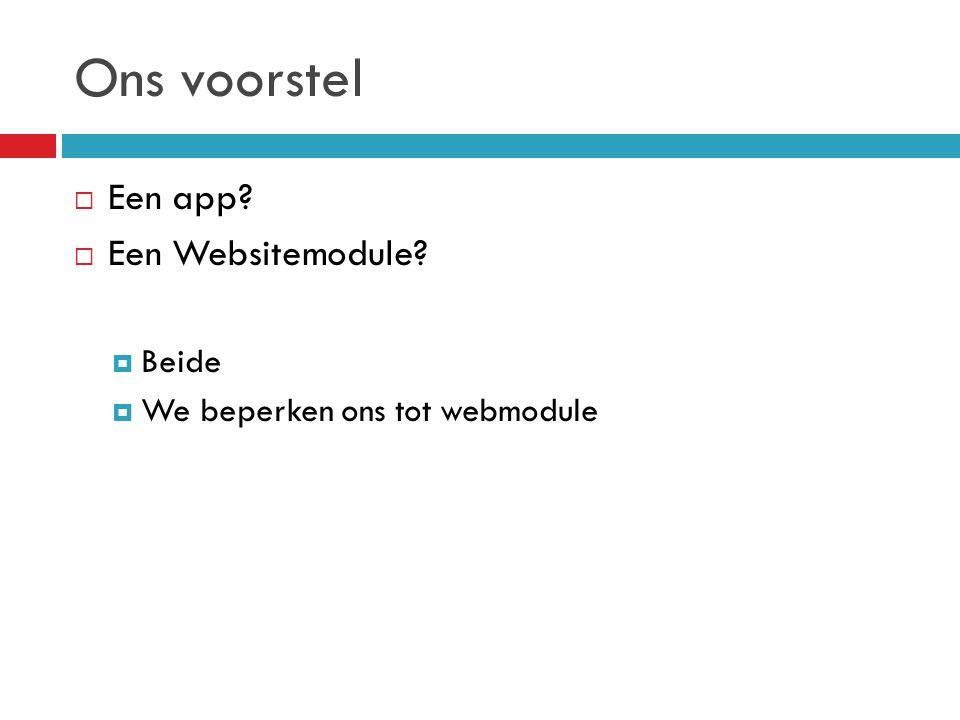 Ons voorstel  Een app  Een Websitemodule  Beide  We beperken ons tot webmodule