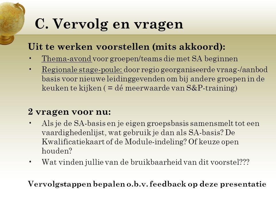 C. Vervolg en vragen Uit te werken voorstellen (mits akkoord): Thema-avond voor groepen/teams die met SA beginnen Regionale stage-poule: door regio ge