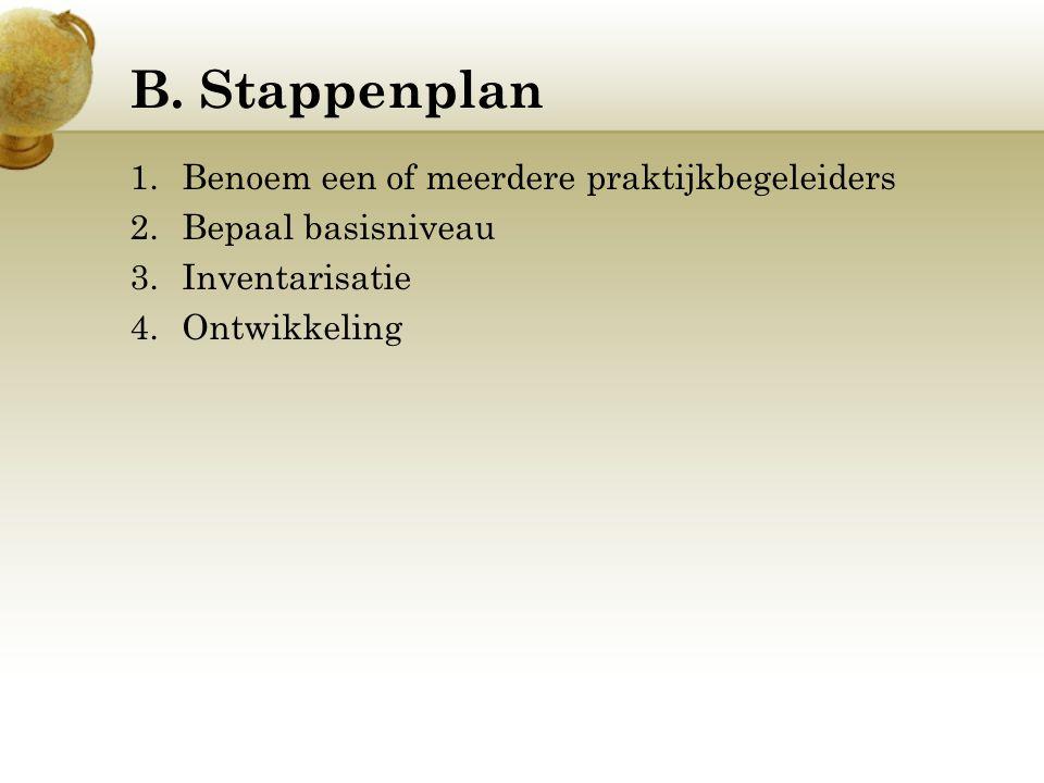 B. Stappenplan 1.Benoem een of meerdere praktijkbegeleiders 2.Bepaal basisniveau 3.Inventarisatie 4.Ontwikkeling