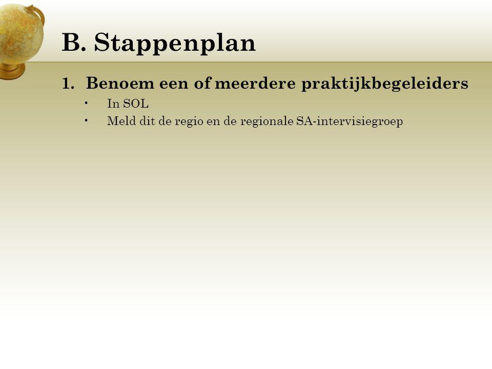 B. Stappenplan 1.Benoem een of meerdere praktijkbegeleiders In SOL Meld dit de regio en de regionale SA-intervisiegroep