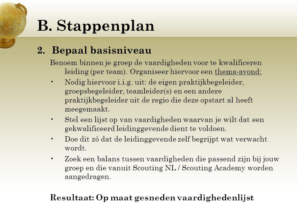 B. Stappenplan 2.Bepaal basisniveau Benoem binnen je groep de vaardigheden voor te kwalificeren leiding (per team). Organiseer hiervoor een thema-avon