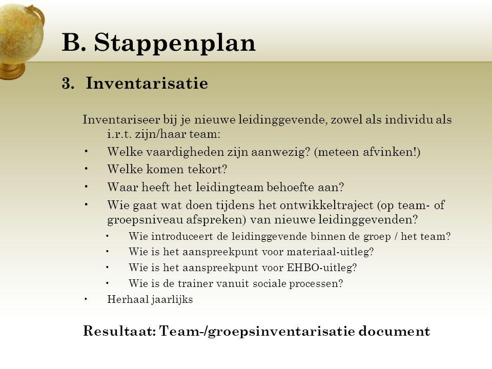 B. Stappenplan 3.Inventarisatie Inventariseer bij je nieuwe leidinggevende, zowel als individu als i.r.t. zijn/haar team: Welke vaardigheden zijn aanw