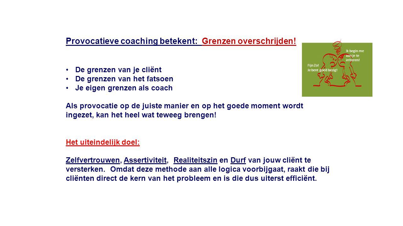 Provocatieve coaching betekent: Grenzen overschrijden! De grenzen van je cliënt De grenzen van het fatsoen Je eigen grenzen als coach Als provocatie o