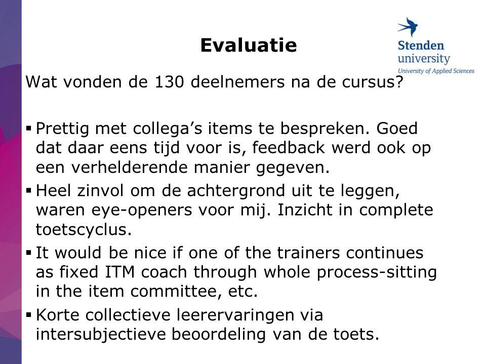 Evaluatie Wat vonden de 130 deelnemers na de cursus.