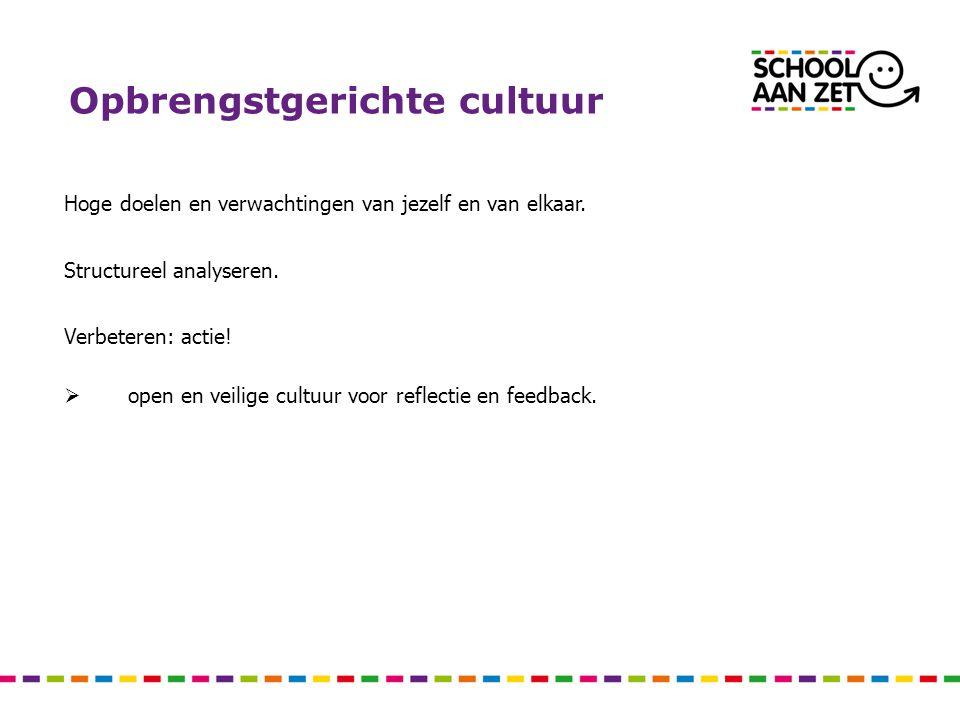 Opbrengstgerichte cultuur Hoge doelen en verwachtingen van jezelf en van elkaar. Structureel analyseren. Verbeteren: actie!  open en veilige cultuur