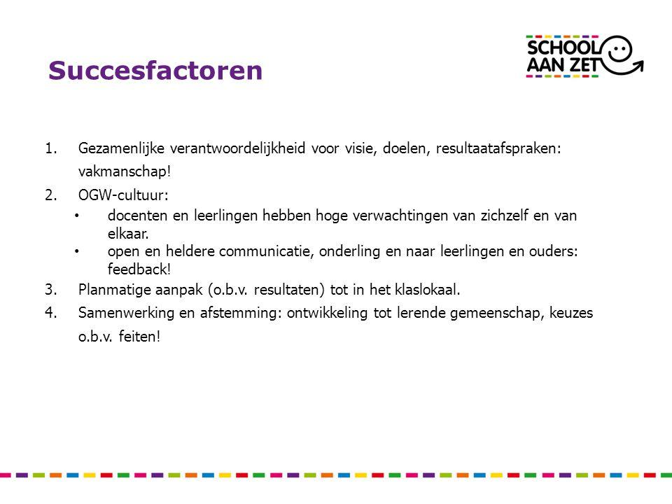 Succesfactoren 1.Gezamenlijke verantwoordelijkheid voor visie, doelen, resultaatafspraken: vakmanschap! 2.OGW-cultuur: docenten en leerlingen hebben h