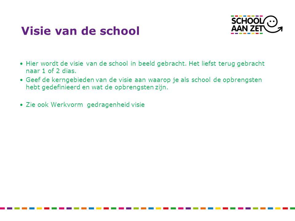 Visie van de school Hier wordt de visie van de school in beeld gebracht. Het liefst terug gebracht naar 1 of 2 dias. Geef de kerngebieden van de visie