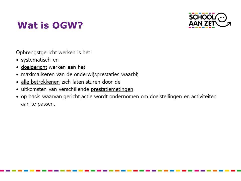 Wat is OGW.Dit betekent opbrengsten goed met elkaar definiëren vanuit de visie van de school.