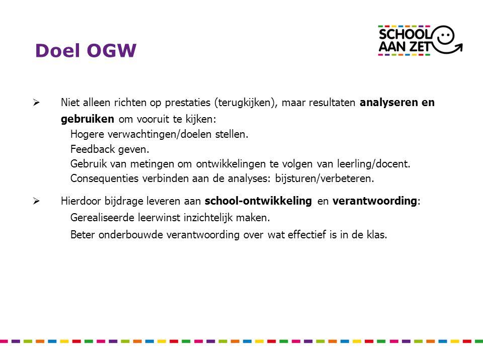 Doel OGW  Niet alleen richten op prestaties (terugkijken), maar resultaten analyseren en gebruiken om vooruit te kijken: Hogere verwachtingen/doelen stellen.