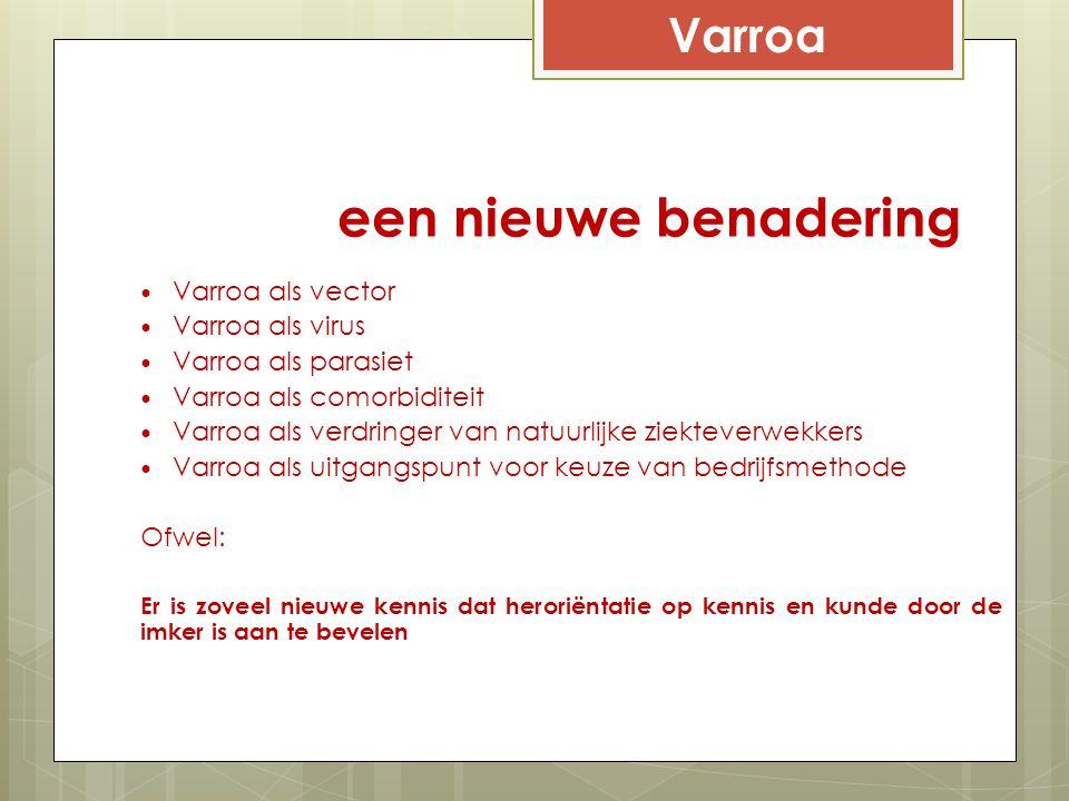 een nieuwe benadering Varroa als vector Varroa als virus Varroa als parasiet Varroa als comorbiditeit Varroa als verdringer van natuurlijke ziekteverw