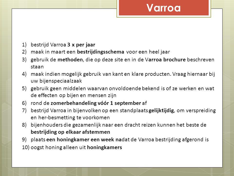1)bestrijd Varroa 3 x per jaar 2)maak in maart een bestrijdingsschema voor een heel jaar 3)gebruik de methoden, die op deze site en in de Varroa broch