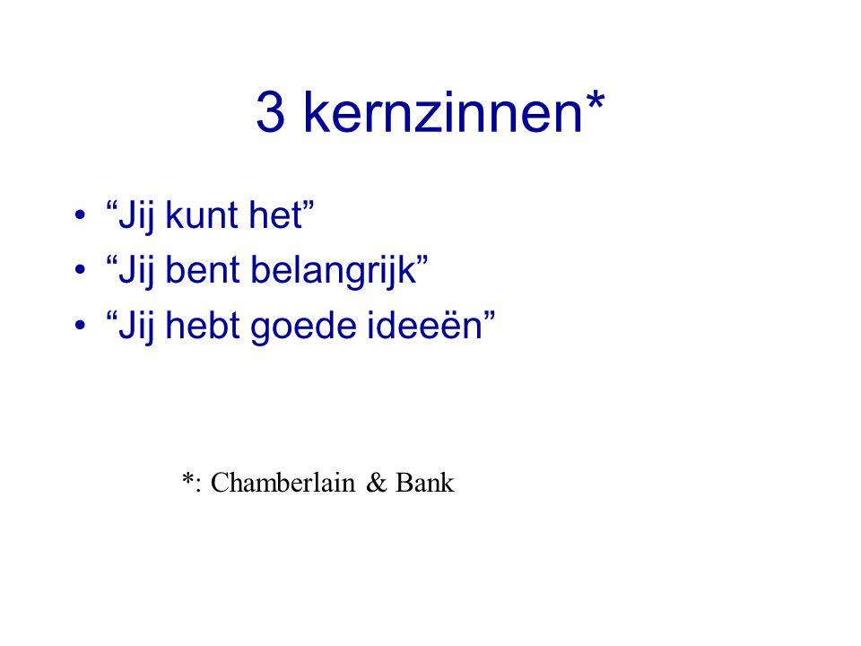 """3 kernzinnen* """"Jij kunt het"""" """"Jij bent belangrijk"""" """"Jij hebt goede ideeën"""" *: Chamberlain & Bank"""