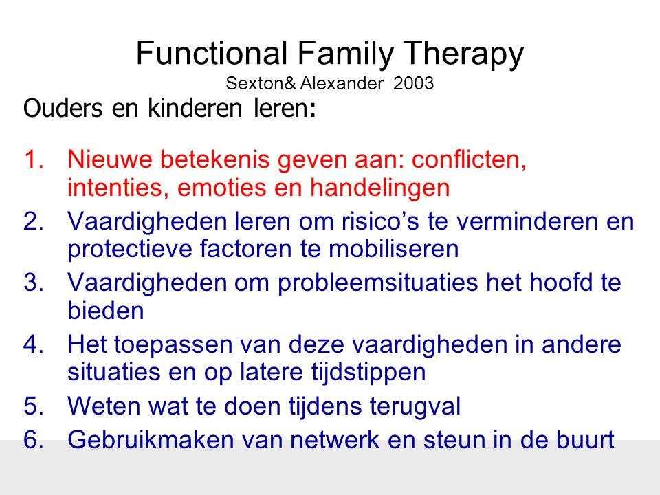 Functional Family Therapy Sexton& Alexander 2003 1.Nieuwe betekenis geven aan: conflicten, intenties, emoties en handelingen 2.Vaardigheden leren om r