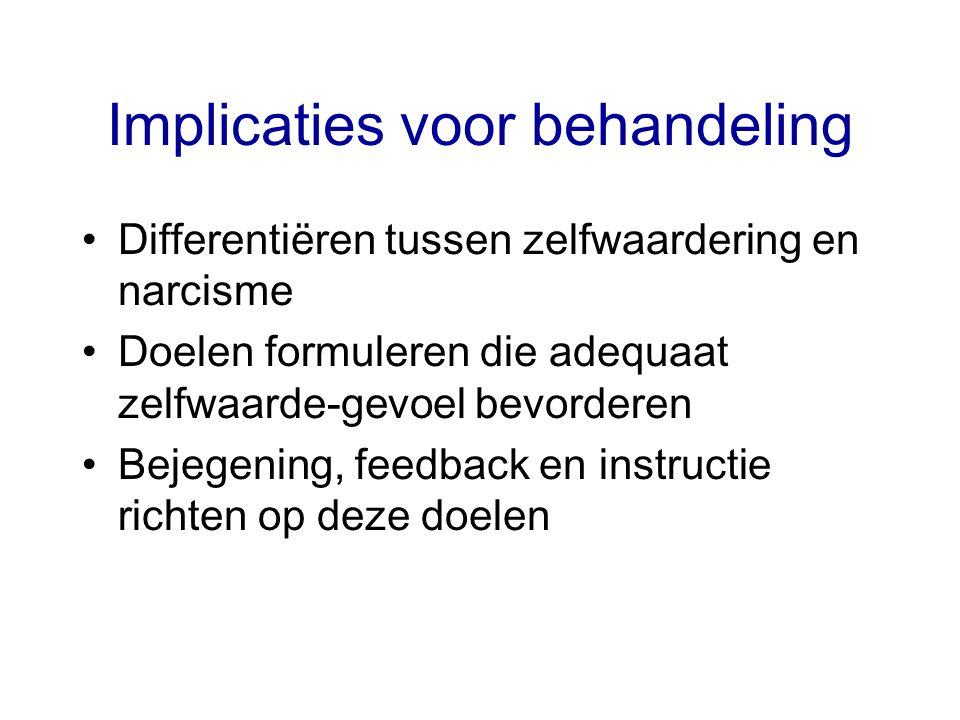 Implicaties voor behandeling Differentiëren tussen zelfwaardering en narcisme Doelen formuleren die adequaat zelfwaarde-gevoel bevorderen Bejegening, feedback en instructie richten op deze doelen