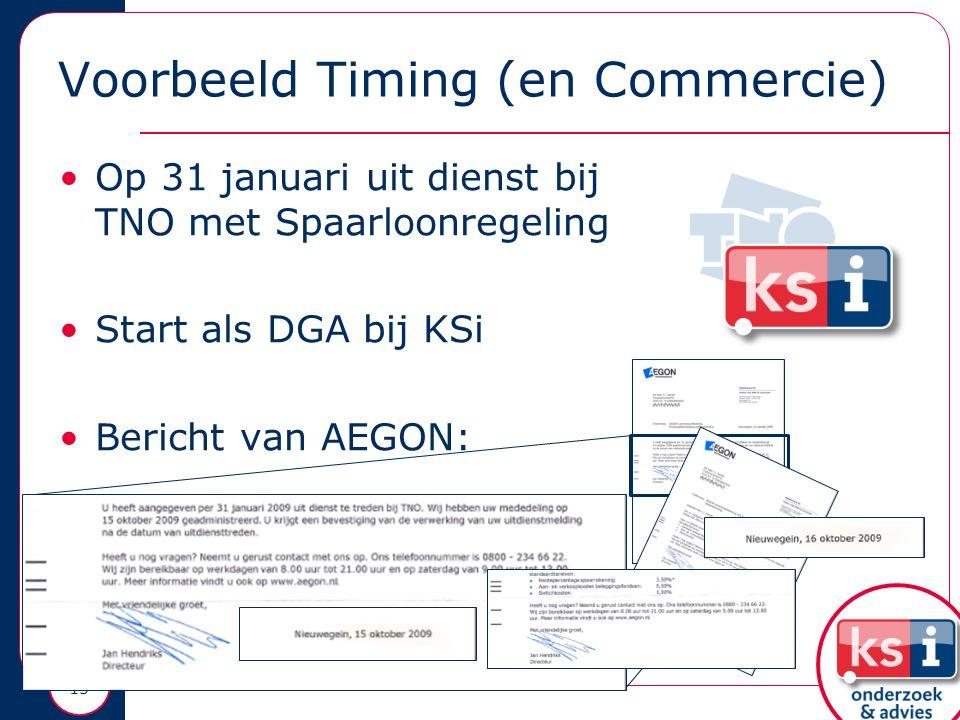 Voorbeeld Timing (en Commercie) Op 31 januari uit dienst bij TNO met Spaarloonregeling Start als DGA bij KSi Bericht van AEGON: 15