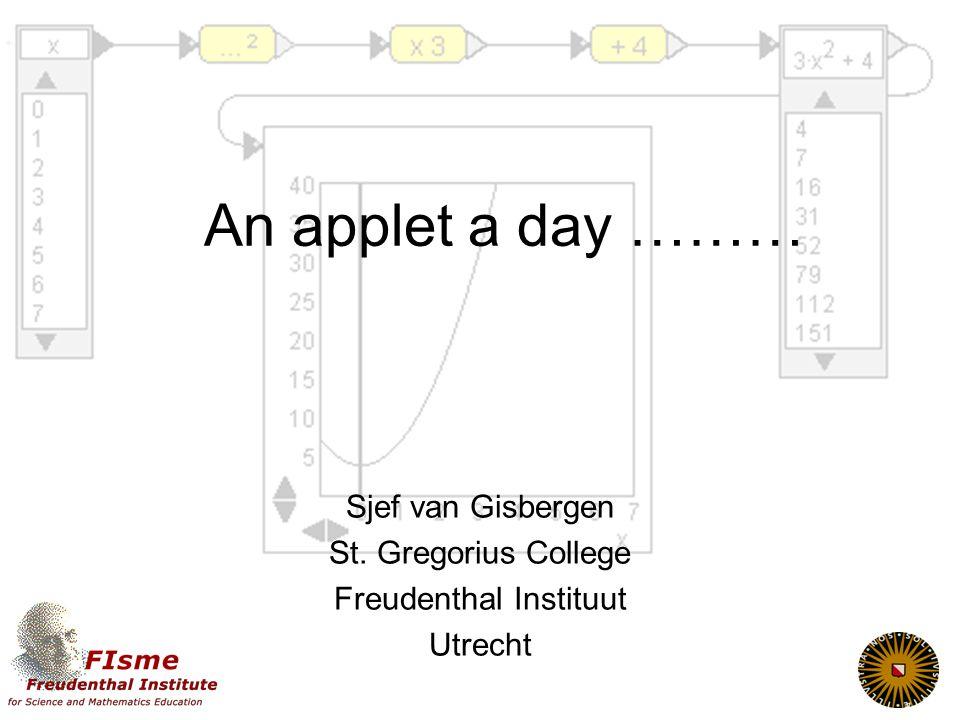 Werken met applets Applets Algemeen Meerwaarde Soorten Op school Hoe gebruiken Randvoorwaarden DWO Twee praktijkvoorbeelden Algebra vaardigheden oefenen Functiebegrip ontwikkelen