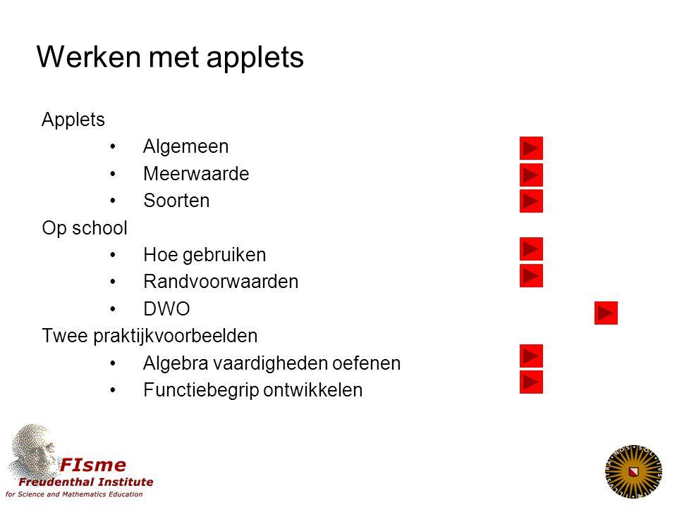 Applets algemeen Wisweb 2000 ontwikkelen, uittesten, bijwerken Wisweb 2007 120 applets, wisweb+, DWO Applets in wiskundemethoden CD's, sites, I-clips