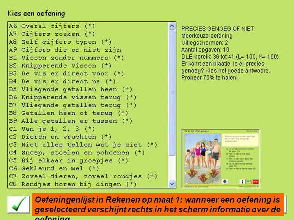 Oefeningenlijst in Rekenen op maat 1: wanneer een oefening is geselecteerd verschijnt rechts in het scherm informatie over de oefening.