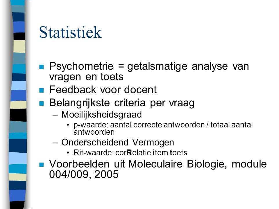 Statistiek n Psychometrie = getalsmatige analyse van vragen en toets n Feedback voor docent n Belangrijkste criteria per vraag –Moeilijksheidsgraad p-waarde: aantal correcte antwoorden / totaal aantal antwoorden –Onderscheidend Vermogen Rit-waarde: corRelatie item toets n Voorbeelden uit Moleculaire Biologie, module 004/009, 2005