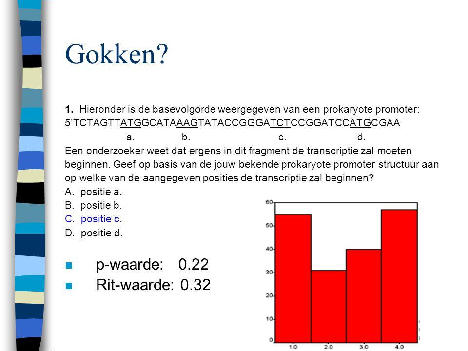 1. Hieronder is de basevolgorde weergegeven van een prokaryote promoter: 5'TCTAGTTATGGCATAAAGTATACCGGGATCTCCGGATCCATGCGAA a. b. c. d. Een onderzoeker