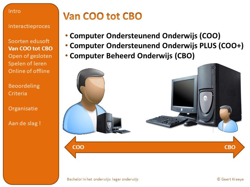 Bachelor in het onderwijs: lager onderwijs© Geert Kraeye Computer Ondersteunend Onderwijs (COO) Computer Ondersteunend Onderwijs PLUS (COO+) Computer