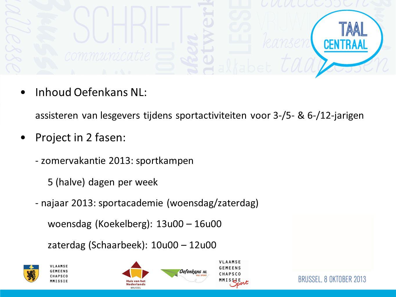 Inhoud Oefenkans NL: assisteren van lesgevers tijdens sportactiviteiten voor 3-/5- & 6-/12-jarigen Project in 2 fasen: - zomervakantie 2013: sportkampen 5 (halve) dagen per week - najaar 2013: sportacademie (woensdag/zaterdag) woensdag (Koekelberg): 13u00 – 16u00 zaterdag (Schaarbeek): 10u00 – 12u00