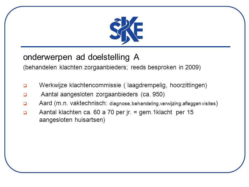 onderwerpen ad doelstelling A (behandelen klachten zorgaanbieders; reeds besproken in 2009)  Werkwijze klachtencommissie ( laagdrempelig, hoorzittingen)  Aantal aangesloten zorgaanbieders (ca.