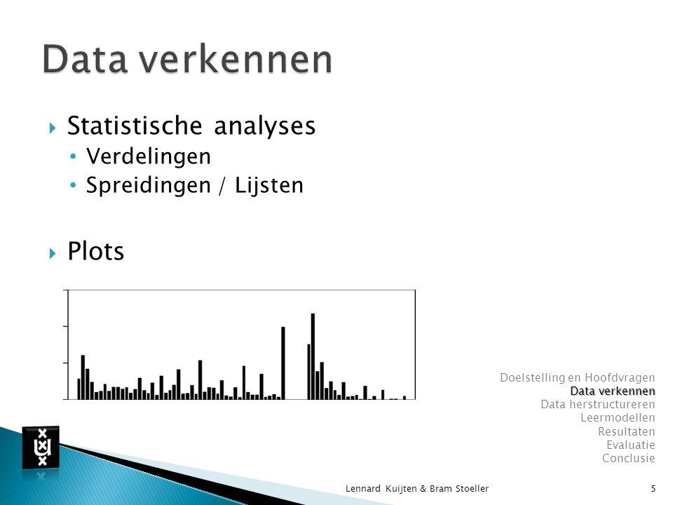  Attribuutselectie  Recordselectie  Discretiseren  Waarden  Attributen  Maandata Anomalistisch (F w ) Synodisch (Schijngestalten) Lennard Kuijten & Bram Stoeller6 Doelstelling en Hoofdvragen Data verkennen Data herstructureren Leermodellen Resultaten Evaluatie Conclusie