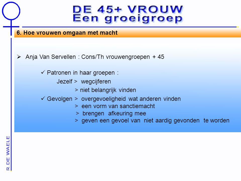 6. Hoe vrouwen omgaan met macht  Anja Van Servellen : Cons/Th vrouwengroepen + 45 Patronen in haar groepen : Jezelf > wegcijferen > niet belangrijk v