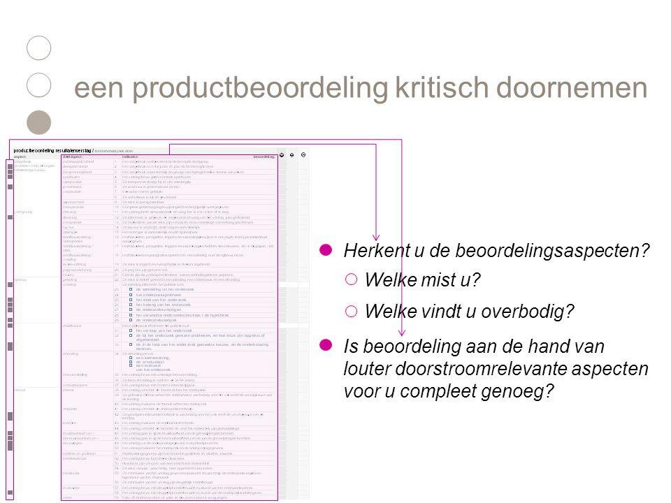 Herkent u de beoordelingsaspecten? een productbeoordeling kritisch doornemen Welke mist u? Welke vindt u overbodig? Is beoordeling aan de hand van lou