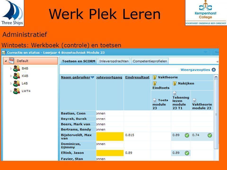 Administratief Wintoets: Werkboek (controle) en toetsen