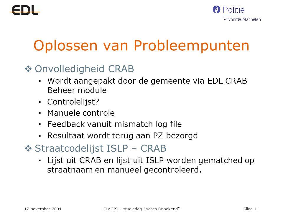 17 november 2004FLAGIS – studiedag Adres Onbekend Slide 11 Oplossen van Probleempunten  Onvolledigheid CRAB ▪Wordt aangepakt door de gemeente via EDL CRAB Beheer module ▪Controlelijst.