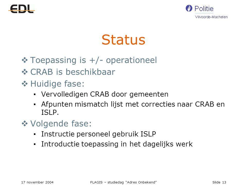 17 november 2004FLAGIS – studiedag Adres Onbekend Slide 13 Status  Toepassing is +/- operationeel  CRAB is beschikbaar  Huidige fase: ▪Vervolledigen CRAB door gemeenten ▪Afpunten mismatch lijst met correcties naar CRAB en ISLP.