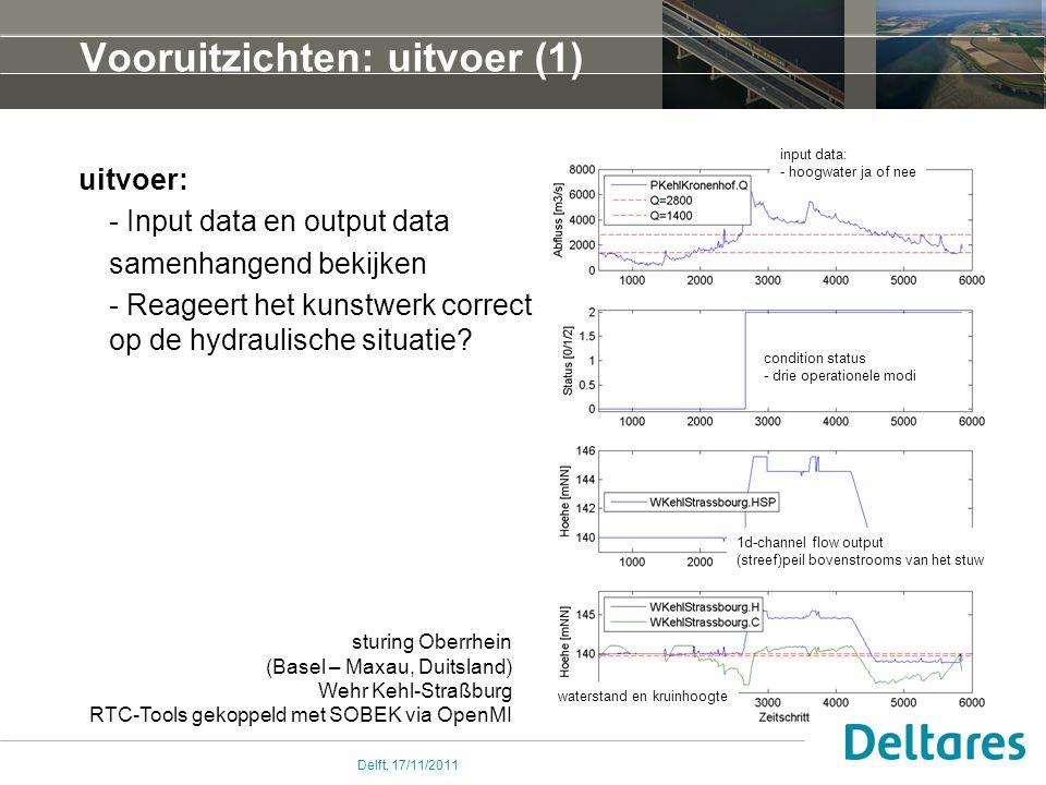 Delft, 17/11/2011 Vooruitzichten: uitvoer (1) uitvoer: - Input data en output data samenhangend bekijken - Reageert het kunstwerk correct op de hydraulische situatie.