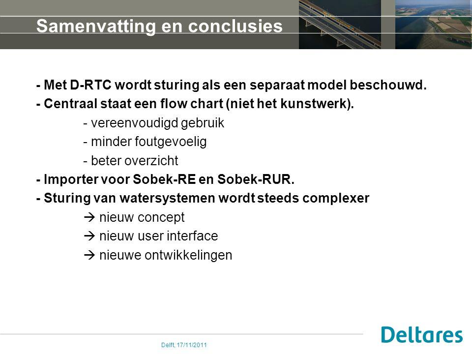 Delft, 17/11/2011 Samenvatting en conclusies - Met D-RTC wordt sturing als een separaat model beschouwd. - Centraal staat een flow chart (niet het kun