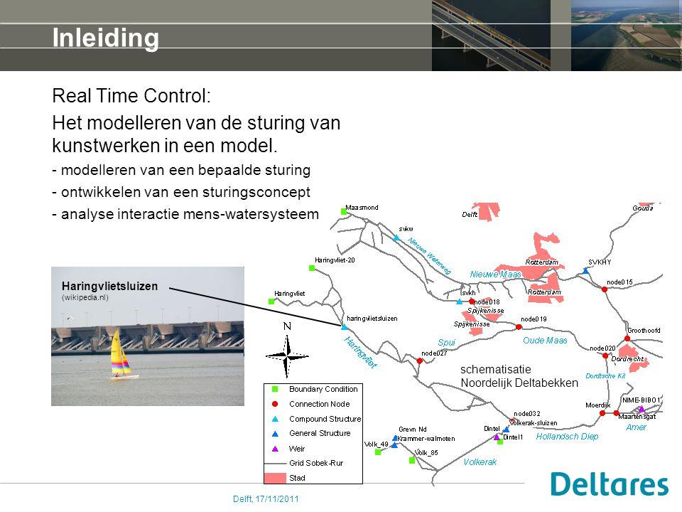 Delft, 17/11/2011 Inleiding Real Time Control: Het modelleren van de sturing van kunstwerken in een model.