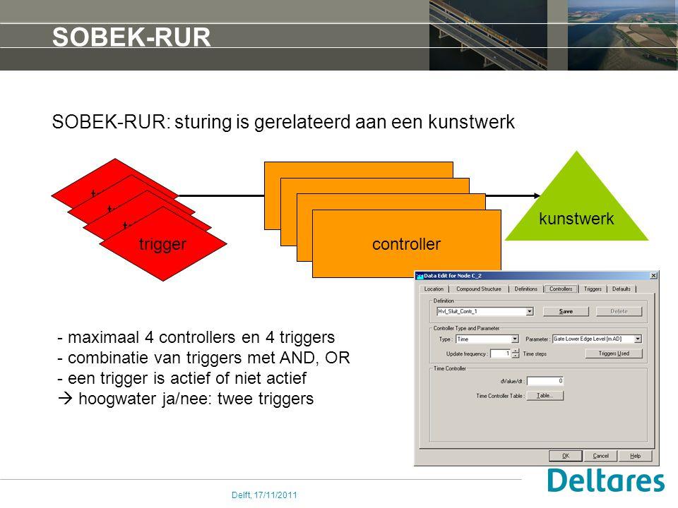 Delft, 17/11/2011 SOBEK-RUR SOBEK-RUR: sturing is gerelateerd aan een kunstwerk kunstwerk controller trigger controller - maximaal 4 controllers en 4 triggers - combinatie van triggers met AND, OR - een trigger is actief of niet actief  hoogwater ja/nee: twee triggers