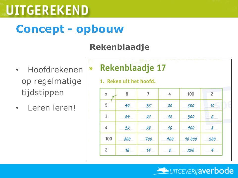 Concept - opbouw Rekenblaadje Hoofdrekenen op regelmatige tijdstippen Leren leren!