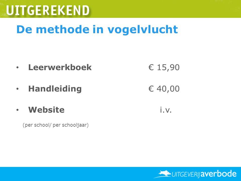 De methode in vogelvlucht Leerwerkboek€ 15,90 Handleiding€ 40,00 Website i.v. (per school/ per schooljaar)
