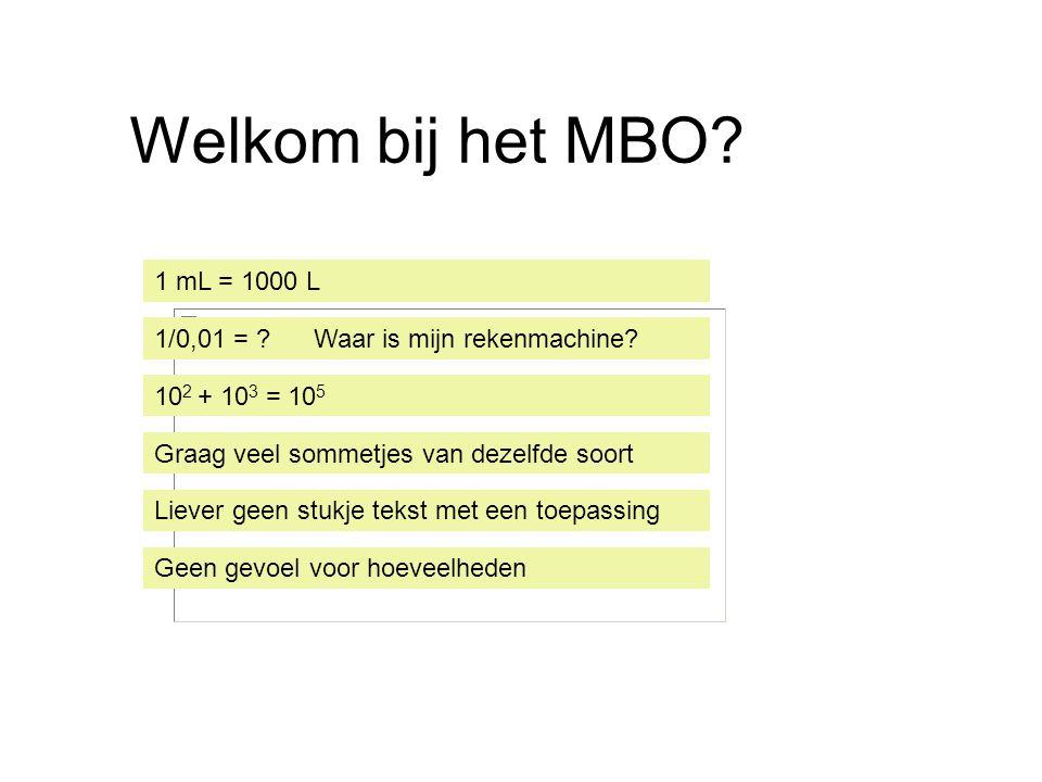 Welkom bij het MBO? 1 mL = 1000 L 1/0,01 = ? Waar is mijn rekenmachine? 10 2 + 10 3 = 10 5 Graag veel sommetjes van dezelfde soort Liever geen stukje