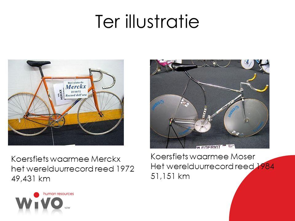 Ter illustratie Koersfiets waarmee Merckx het werelduurrecord reed 1972 49,431 km Koersfiets waarmee Moser Het werelduurrecord reed 1984 51,151 km
