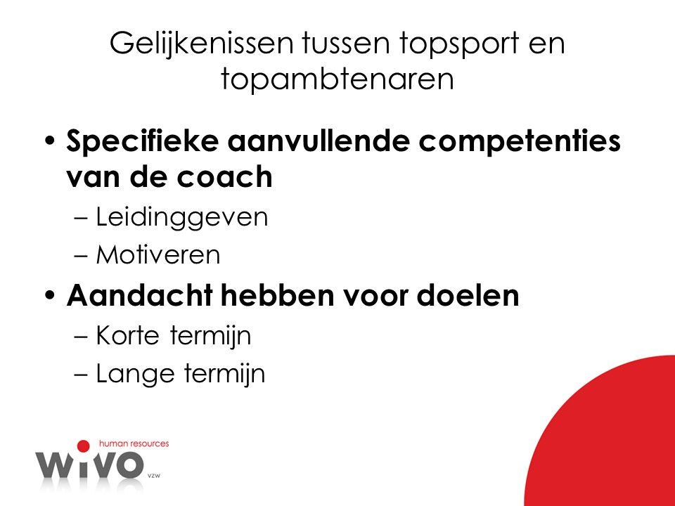 Gelijkenissen tussen topsport en topambtenaren Specifieke aanvullende competenties van de coach –Leidinggeven –Motiveren Aandacht hebben voor doelen –