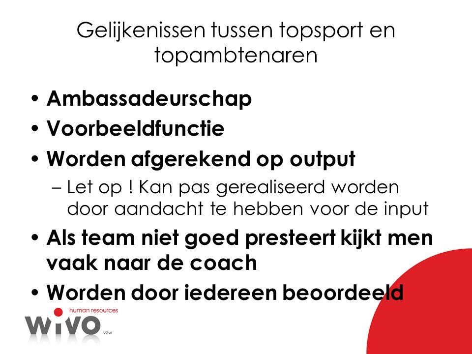 Gelijkenissen tussen topsport en topambtenaren Ambassadeurschap Voorbeeldfunctie Worden afgerekend op output –Let op ! Kan pas gerealiseerd worden doo
