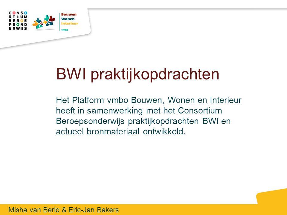 Platform BWI Het Platform vmbo BWI heeft als doel de positie van de afdeling Bouwen, Wonen en Interieur in het vmbo te versterken en de kwaliteit van het onderwijs wezenlijk te verbeteren Het platform ontwikkelt producten gericht op het vmbo BWI onderwijs en voorlichting naar ouders en leerlingen 180 lid scholen in 5 regio's met elk een eigen regiocoördinator Kenniscentrums, het vmbo en mbo veld en docentenopleiding zijn in de platform vertegenwoordigd 2 regiobijeenkomsten en 1 landelijke dag per jaar