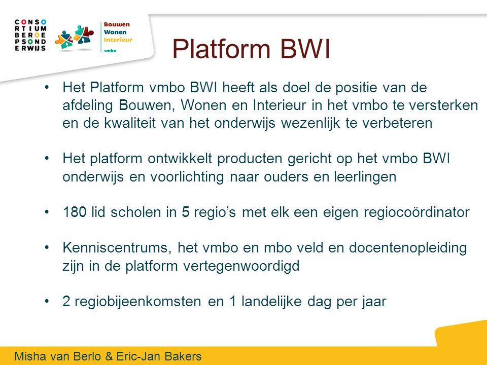 Platform BWI Het Platform vmbo BWI heeft als doel de positie van de afdeling Bouwen, Wonen en Interieur in het vmbo te versterken en de kwaliteit van