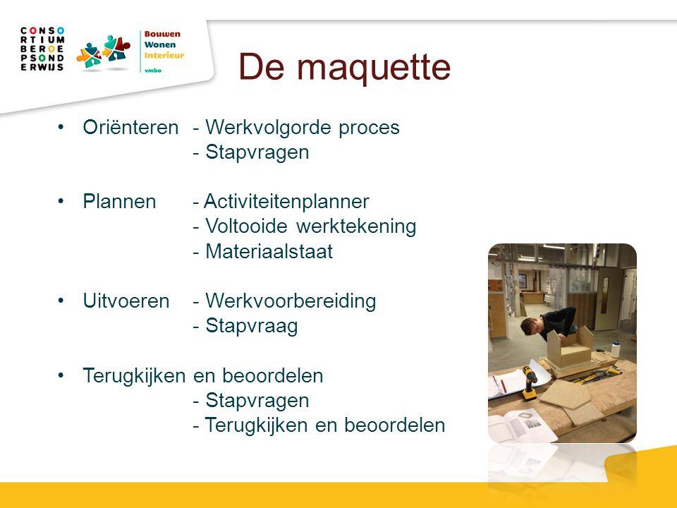 De maquette Oriënteren - Werkvolgorde proces - Stapvragen Plannen- Activiteitenplanner - Voltooide werktekening - Materiaalstaat Uitvoeren- Werkvoorbe