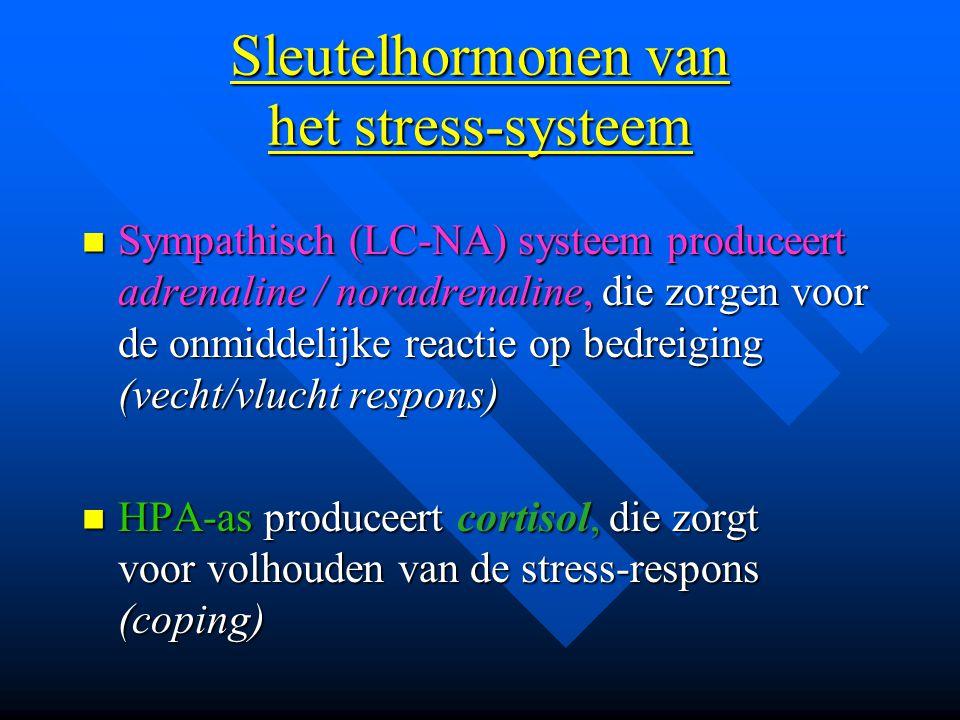 Sleutelhormonen van het stress-systeem Sympathisch (LC-NA) systeem produceert adrenaline / noradrenaline, die zorgen voor de onmiddelijke reactie op b